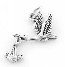 STERLING SILVER STORK W ITH BABY MOVES CHARM OR PENDANT