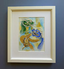 "Original Framed Watercolour ""The Dragons of Commerce"" Singapore"