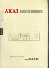 Orig Factory Akai  GX-F35 Stereo Cassette Tape Deck Service Manual Parts List