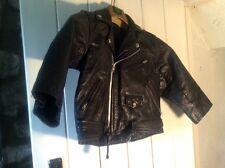 Kids childrens vintage black leather biker jacket - cowhide leather 34 Punk