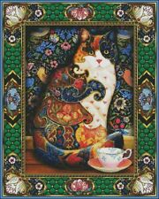 Needlework Craft Full Embroidery Counted Cross Stitch Kits 14 ct The Painted Cat