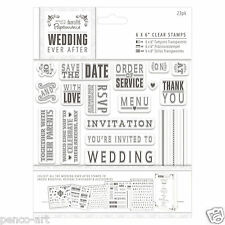 Papermania WEDDING EVER AFTER rubber stamp set save the date invitation menu etc