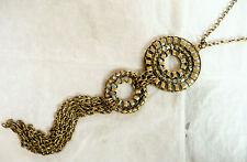 Accessorize Collana in Oro Molto Lungo _ 2 parte pendente circolare con Dettaglio Tagliato