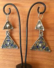 Silver Moroccan Enamel Earrings Colored Berber Triangle Ethnic Tribal African