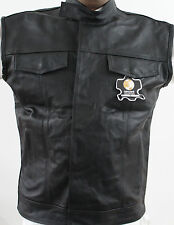 Men Motorbike Motorcycle Black Leather Vest New Small Size