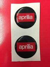 2 Adesivi Resinati Sticker 3D APRILIA 25 mm Black e Red