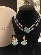 AUTH VINTAGE CHRISTIAN DIOR CD LOGO SILVER CHAIN LINK EARRINGS & NECKLACE