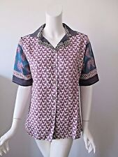 The Territory Ahead Paisley Hobo Prints Button Up Silk Blend Shirt fits 8/10