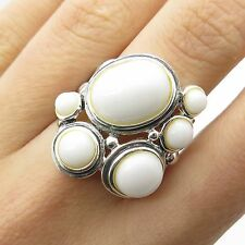 925 Sterling Silver Real White Onyx Gemstone Modern Wide Ring Size 7
