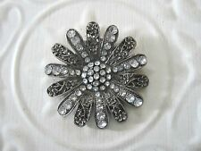"2"" RHINESTONE FILIGREE FLOWER Brooch - Pin  ANTIQUE SILVERTONE"