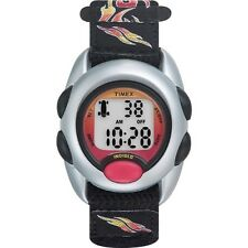 Kids Timex Indiglo Sport Alarm Digital Flames Elastic Fabric Band Watch T78751