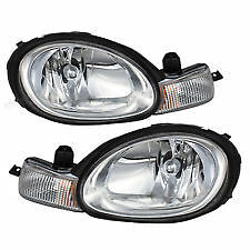 2000 2001 2002 DODGE NEON W/CHROME BEZEL HEAD LAMP LIGHT SET RIGHT & LEFT PAIR