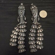 Pair 2 Los Castillo Taxco Mexico Vintage Brooch Pins Sterling Silver Mexican