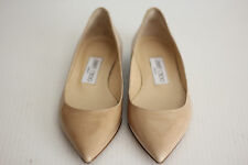 NEW $550 Jimmy Choo Alina Pointy Toe Flats - Nude Patent Leather - 4US / 34 (N2)