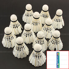12 Pcs White Goose Feather Badminton Ball Shuttlecocks Sport Training Game
