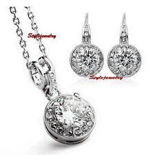 Clear Swarovski Crystal Lab Diamond Earring Necklace Silver Wedding Set N293IE81
