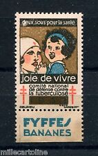 POSTER STAMP, FRANCE, CONTRE LA TUBERCULOSE, ADVERTISING APPENDIX BY FYFFES   m
