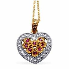 14k Yellow Gold over 925 SS Natural Ruby 0.25ctw Diamond Heart Pendant Necklace