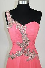 Women's Formal One Shoulder Rhinestones beaded Long Evening Gown prom dress