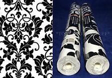"Two 21"" ROLLS Norwall BK32062 HEART DAMASK WALLPAPER Vinyl PREPASTED Black White"