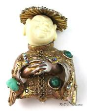 Vintage Signed HAR Laughing Asian Man Coolie Rhinestone & CAB BROOCH Pin