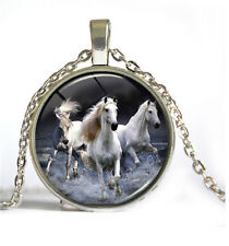 HOT Vintage Horse Cabochon Silver plated Glass Chain Pendant Necklace #3