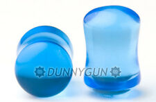 00G Pair Electric Blue Glass Gauged Double Flared Plugs  00 gauge Dunnygun