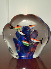 Vintage ITALIAN MURANO Solid Art-Glass 6-FISH AQUARIUM STYLE PAPERWEIGHT DISPLAY
