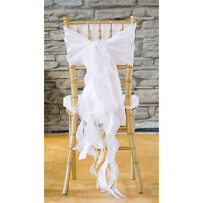 WHITE TAFFETA CURLY WILLOW WEDDING CHAIR SASH