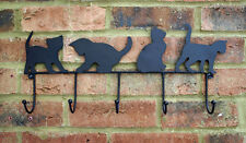 Cat Hook Wall Rack Coat Black Metal Kitten Hallway Tidy Kitchen Shabby Chic New