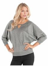 NWT Women Top GUESS Daphne Pullover - silver M