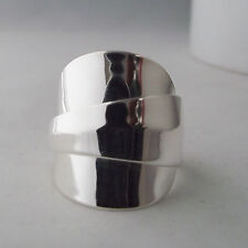 Stunningly Simple Handmade Antique Sterling Silver Chunky Spoon Ring date 1942