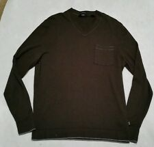 HUGO BOSS Men's Cashmere Cotton V-Neck Slim Fit Long Sleeve Sweater XL Green SD7