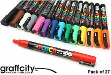 UNI POSCA POSTER PAINT MARKER PEN SET - PC-3M - 27 PACK - FAST SHIPPING