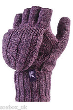 Ladies 2.3 tog Thermal knitted Heat Holders FINGERLESS Mitten Cap Gloves Purple