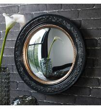 "Langford Large Convex Porthole Round Black Gold Wall Mirror 20"" Diam"