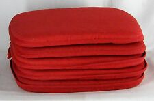 Set of 4 Country Barn RED Burgundy Kitchen Chair Pads Seat Cushions with Ties