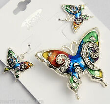 Butterfly Silver Tone Necklace Pendant Earring Set Blue Green Enamel Crystal NWT