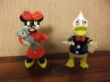 Donald Duck and Minnie Mouse glass figures