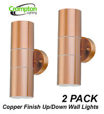 2 x Copper Finish Up/Down Outdoor Exterior Wall Light - 2x35W 240V GU10 Halogen
