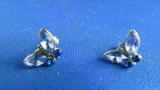 paire de boucles d oreilles  fantaisie metal doré strass bleu papillon