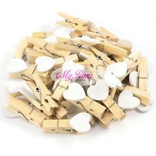 10pcs Mini Wooden White Love Heart Pegs Photo Paper Clips Wedding Decor Craft