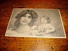 Vintage Patella Art Nouveau Postcard Beautiful Mother & Child Bouquet In Hand