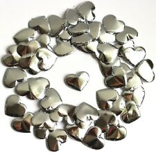 50 Small 2cm Double Sided Silver Hearts Wedding Card Making Embellishments