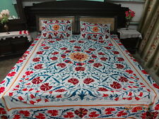 Designer Uzbekistan Embroidered Floral Cotton suzani bed cover Bedspread Pillow