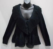 Sweater Small Black Wide Ruffle Collar Hem Cardigan Bolero Top Ties  NWT DC408A