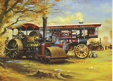 Fowlers Traction Engine Aveling Roller Steam fair country art greeting  card