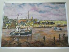 Watercolour.Fishing Boats Bringing Home The Catch by David Harris 1997.