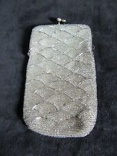 Vintage Cigarette White / Silver Beads Pouch Snap Closure Made in Korea Art Deco