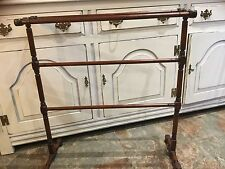 Antique Victorian Free Standing Turned Mahogany Towel Rail Quilt Rack Stand 1880